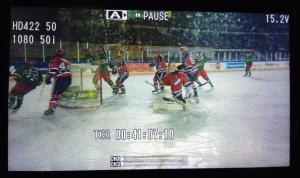 Näkymä kameran LCD -näytöstä Jokerien tehtyä 1-0 maalin.